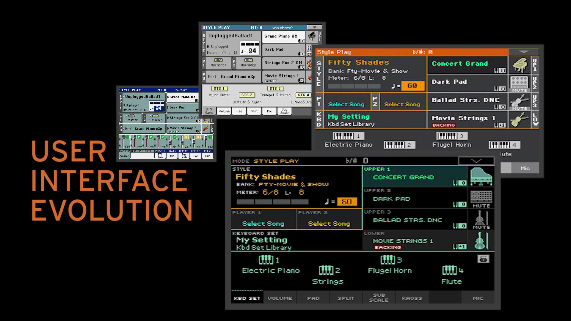 Vývoj hlavní obrazovky Pa série v průběhu roků